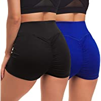 YEYELE Yoga Shorts for Women 1 or 2 Pack High Waist Butt Scrunch Booty Spandex Gym Workout Shorts