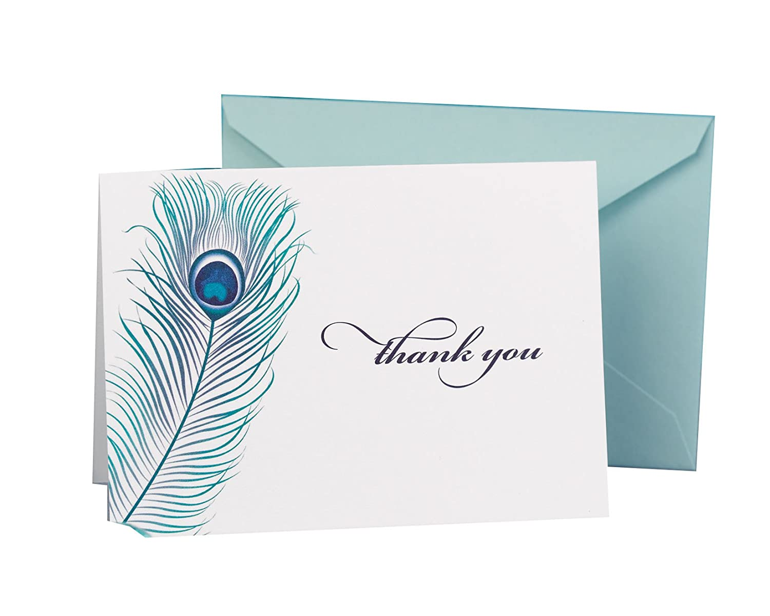 Hortense B. Hewitt Wedding Accessories Thank You Note Cards, Peacock Feather, Pack of 50 11105