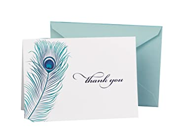 Hortense B Hewitt Wedding Accessories Thank You Note Cards Peacock Feather Pack Of