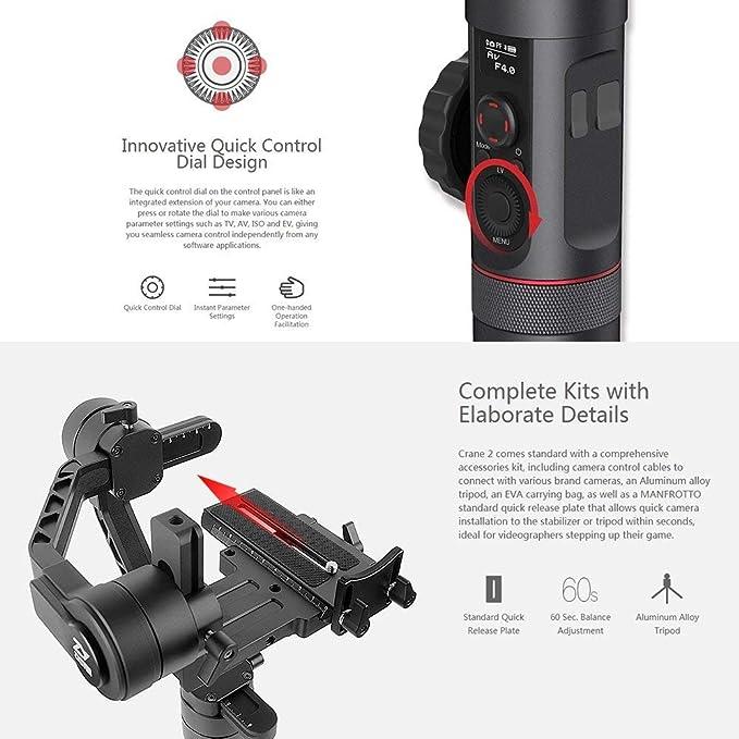 Zhiyun Crane 2 3-Axis Brushless Handheld Gimbal Stabilizer: Amazon ...