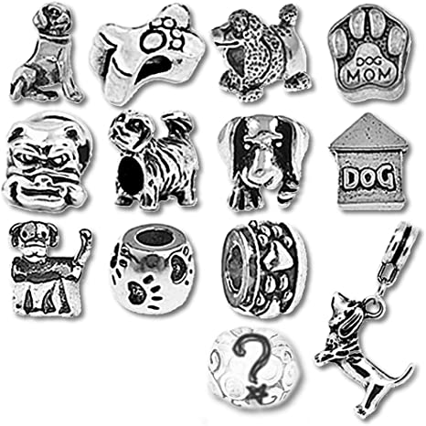 Stainless Steel Puppy Dog Charm Canine European Bead Jewelry for Charm Bracelets
