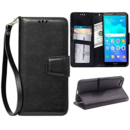 Teebo Flip Case for Huawei Y5 2018/Y5 Prime 2018, Scratch-Proof Leather  Wallet Stand Cover with Card Holder Phone Case Protector for Huawei Y5  2018/Y5