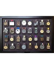 UMDISPLAY, Medallero de 32 Posiciones Color Chocolate con Tableta para Foto