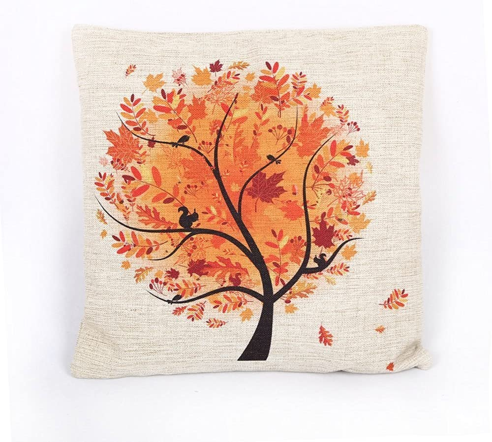 "HOSL Cotton Linen Home Decorative Autumn Tree Pillow Case Square Cushion Cover 18"" (18x18, Tree)"