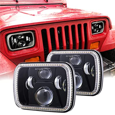 Z-OFFROAD 2pcs 110W 7x6 LED Headlights 5x7 LED Headlight with Turn Signal DRL White Halo Sealed Beam Headlamp H6054 6054 Led Headlight for Jeep Wrangler YJ Cherokee XJ H5054 H6054LL 6052 6053 - Black: Automotive