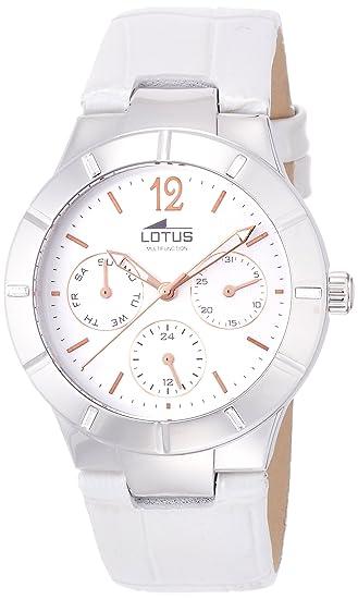 8d151890e013 Lotus 0 - Reloj de cuarzo para mujer, con correa de cuero, color blanco