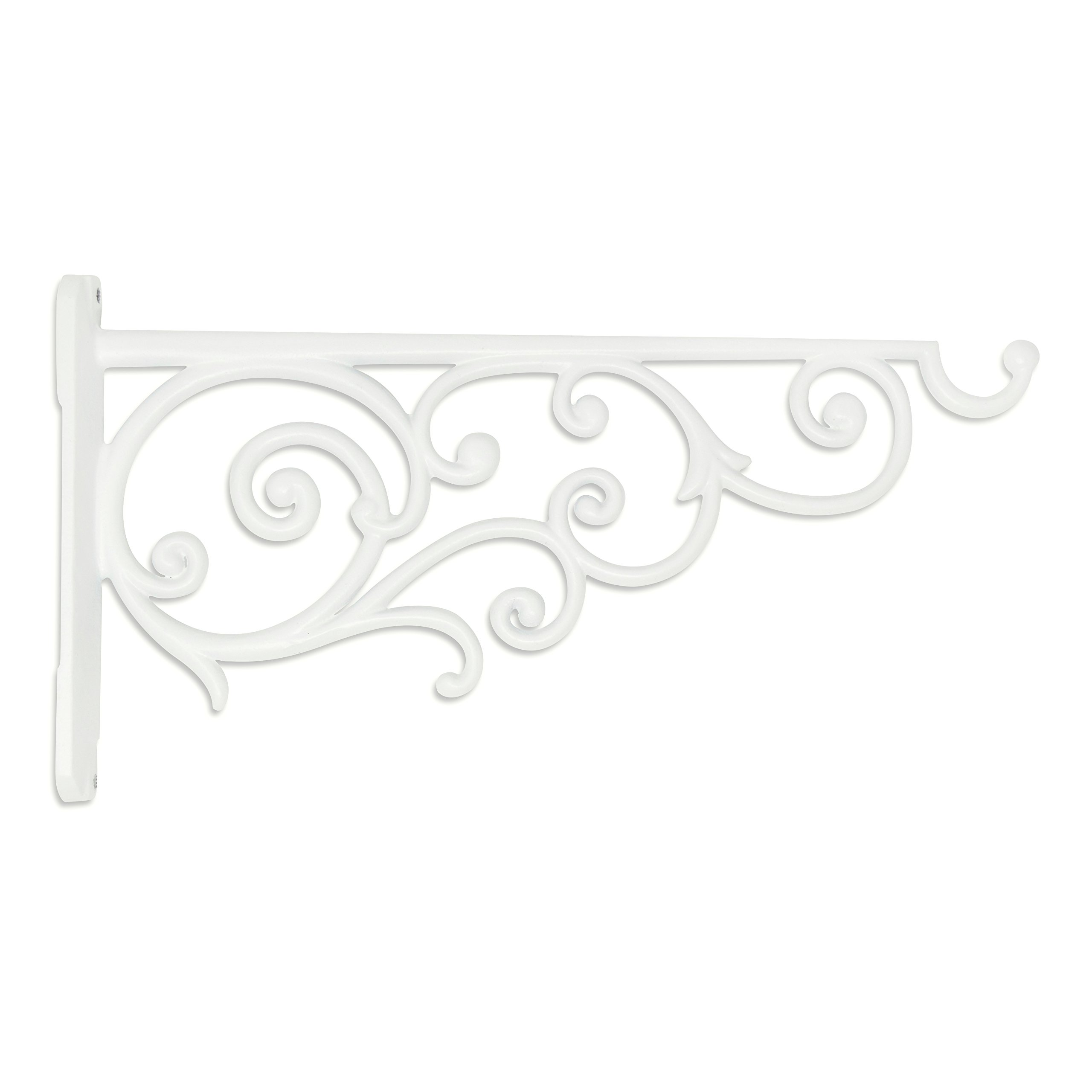 GrayBunny GB-6878W1 Victorian Wall Hook, 14 Inch, White, For Bird Feeders, Planters, Lanterns, Wind Chimes, As Wall Brackets and More! by GrayBunny