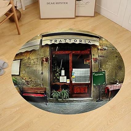 Amazon.com: Gzhihine Custom round floor mat Italian Restaurant ...