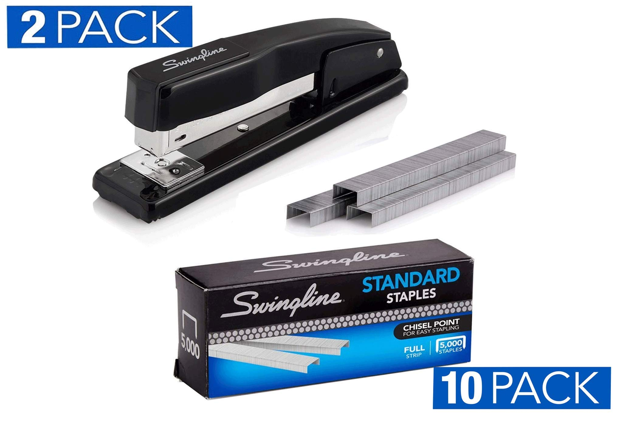2 Swingline Stapler, Commercial Desktop Staplers, 20 Sheet Capacity, Black, (44401AZ) With Swingline Staples, Standard, 1/4'' Length, 210/Strip, 5000/Box, 10 Pack (35111) by Swingline