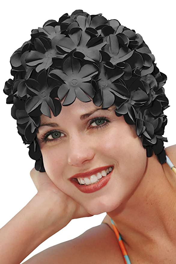 1950s Style Hats for Sale Original Sync Swimwear Petal Swim Caps I Vintage Retro Flower Bathing Cap $22.79 AT vintagedancer.com