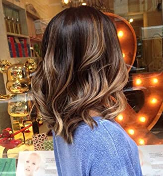 Full Shine 14 Human Hair Front Lace Wig With Baby Hair Wavy Short Bob Wigs Ombre Balayage Color 2 And Color 6 Mix Color 18 Blonde Real Human Hair