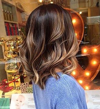 Amazon Com Full Shine 10 Wavy Bob Human Hair Front Lace Wig