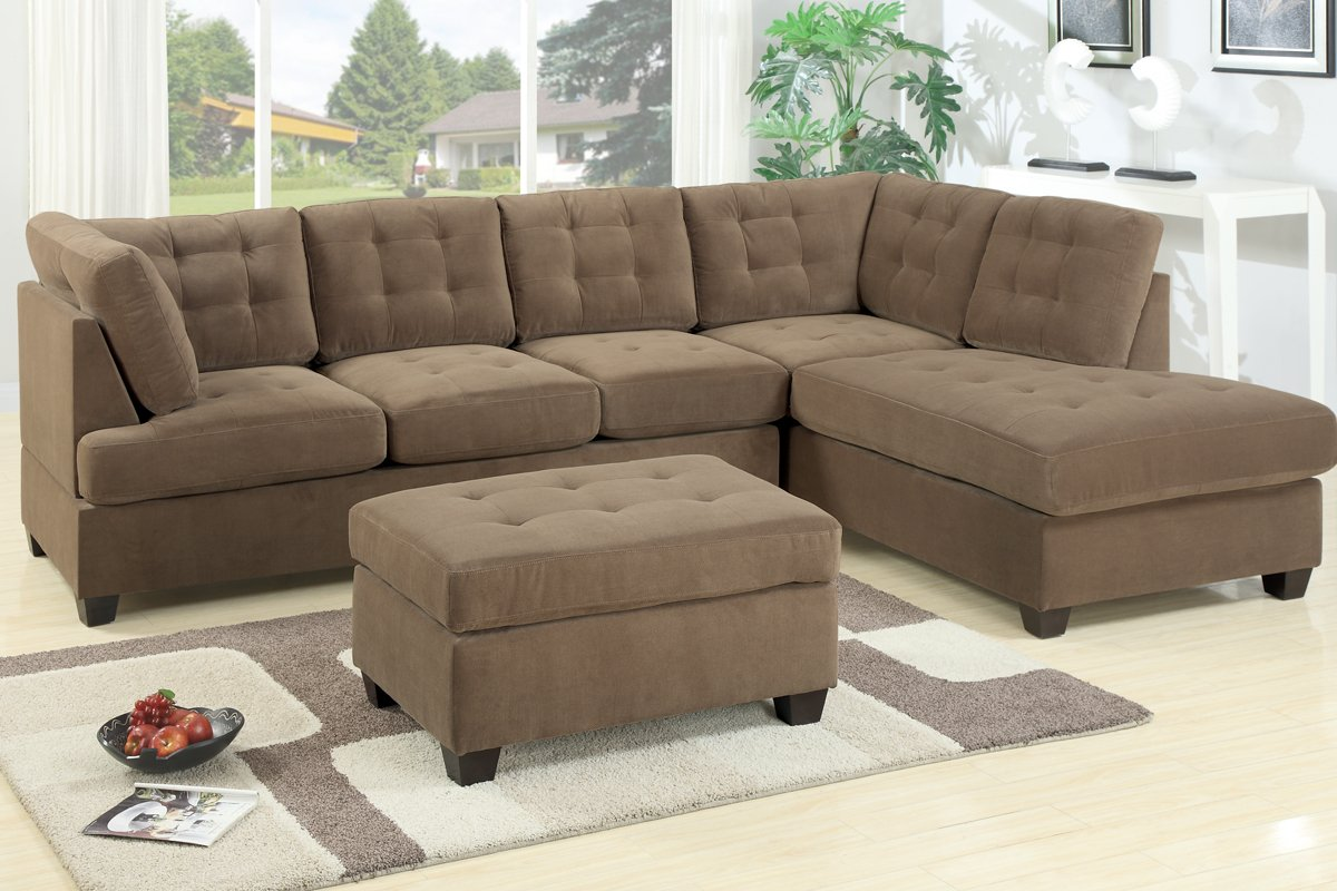Nice Amazon.com: 2 Pc Truffle Waffle Suede Fabric Upholstered Reversible  Sectional Sofa With Chaise Lounger: Kitchen U0026 Dining