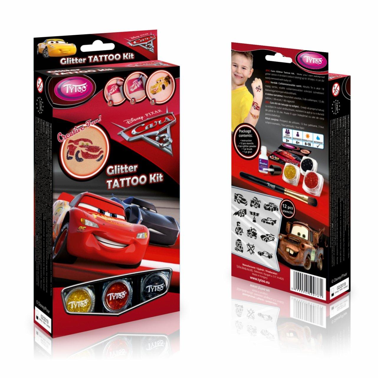Disney Cars 3 Kit Tatuaggi Glitterati: Tatuaggi temporanei per Bambini e Adolescenti con 12 Glitter e Stencil TyToo