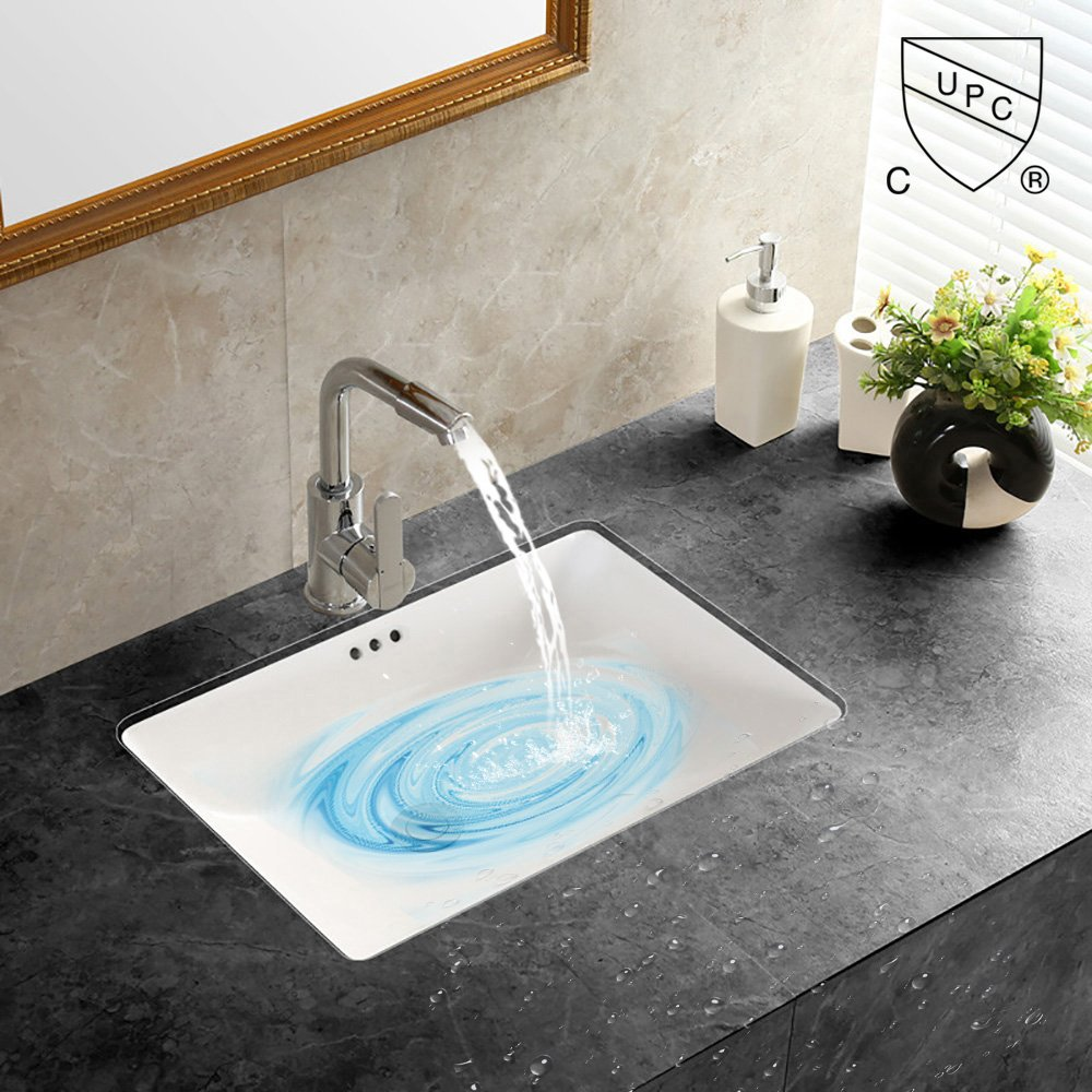 WinZo WZ7423 Rectangular Undermount Vanity Sink ,White Porcelain Ceramic Vessel Art Basin