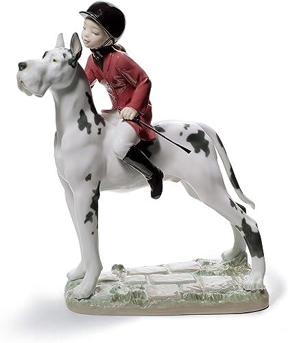 LLADR Giddy Up Doggy Girl Figurine. Porcelain Woman On Horse Figure.
