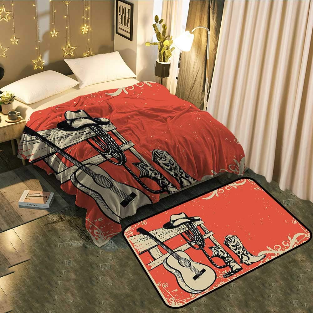 color05 Blanket 60\ Blanket Floor mat Two-pieceIllustration of Wild West Elements with Country Music Guitar and Cowboy Boots Retro Better Deeper Sleep Blanket 60 x78  Mat 5'X8'