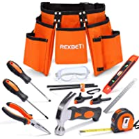 """REXBETI 15pcs Young Builder's Tool Set with Real Hand Tools, Reinforced Kids Tool Belt, Waist 20""""-32"""", Perfect Kids…"""