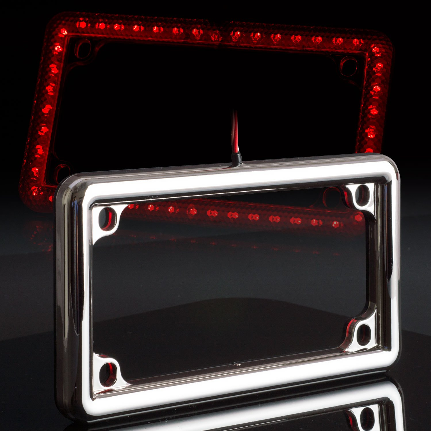 Motorcycle License Plate Frame Universal 12V LED Lighting (2Function, Black) Bosswell 6672