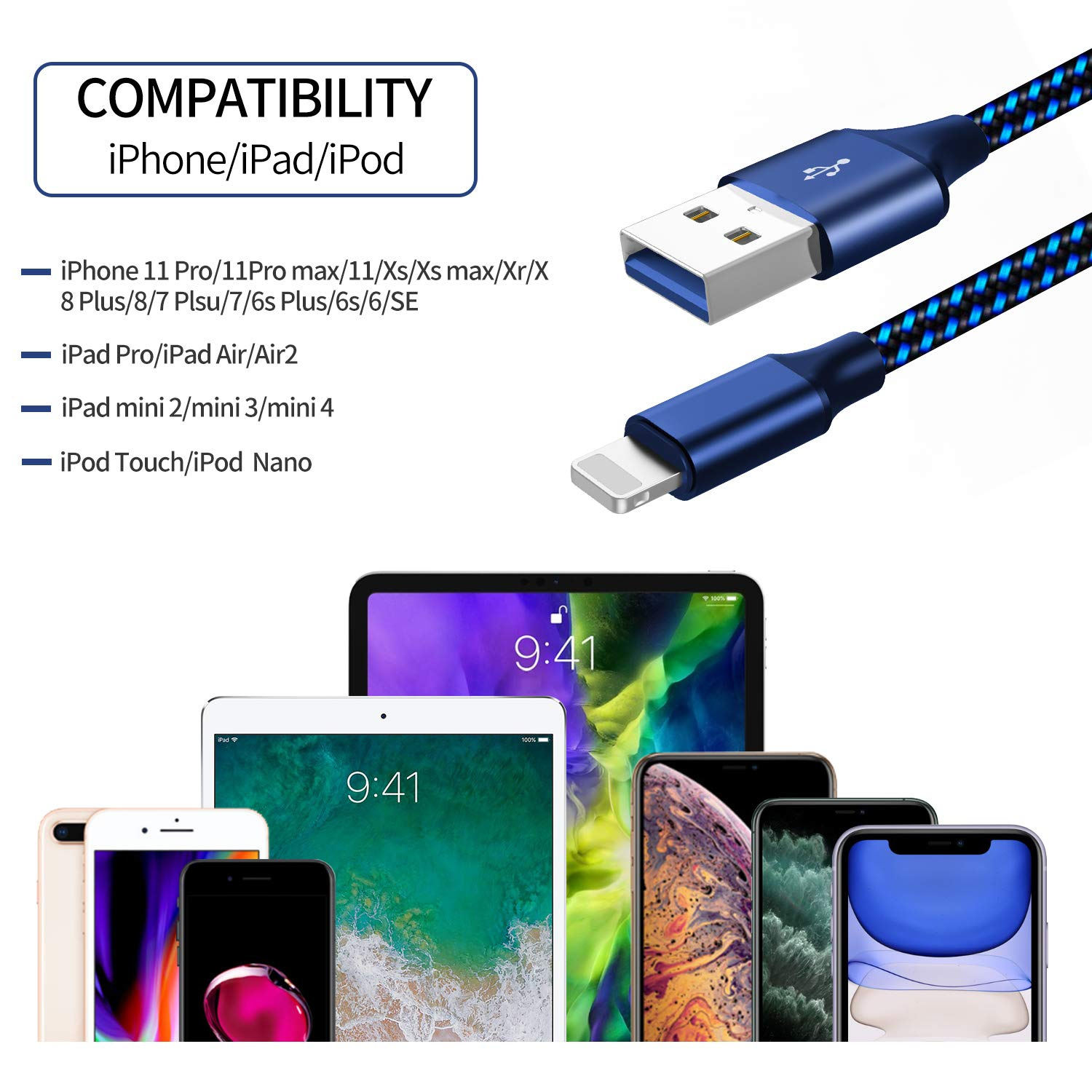 MFi Certified USB C to Lightning Cable, Fantany 3.3ft Metal Lightning to USB C Cable with Power Delivery Fast Charging/&Sync Compatible with iPhone 11//11 Pro Max//XR//X//XS//XS Max,iPad,Airpods,Colourful