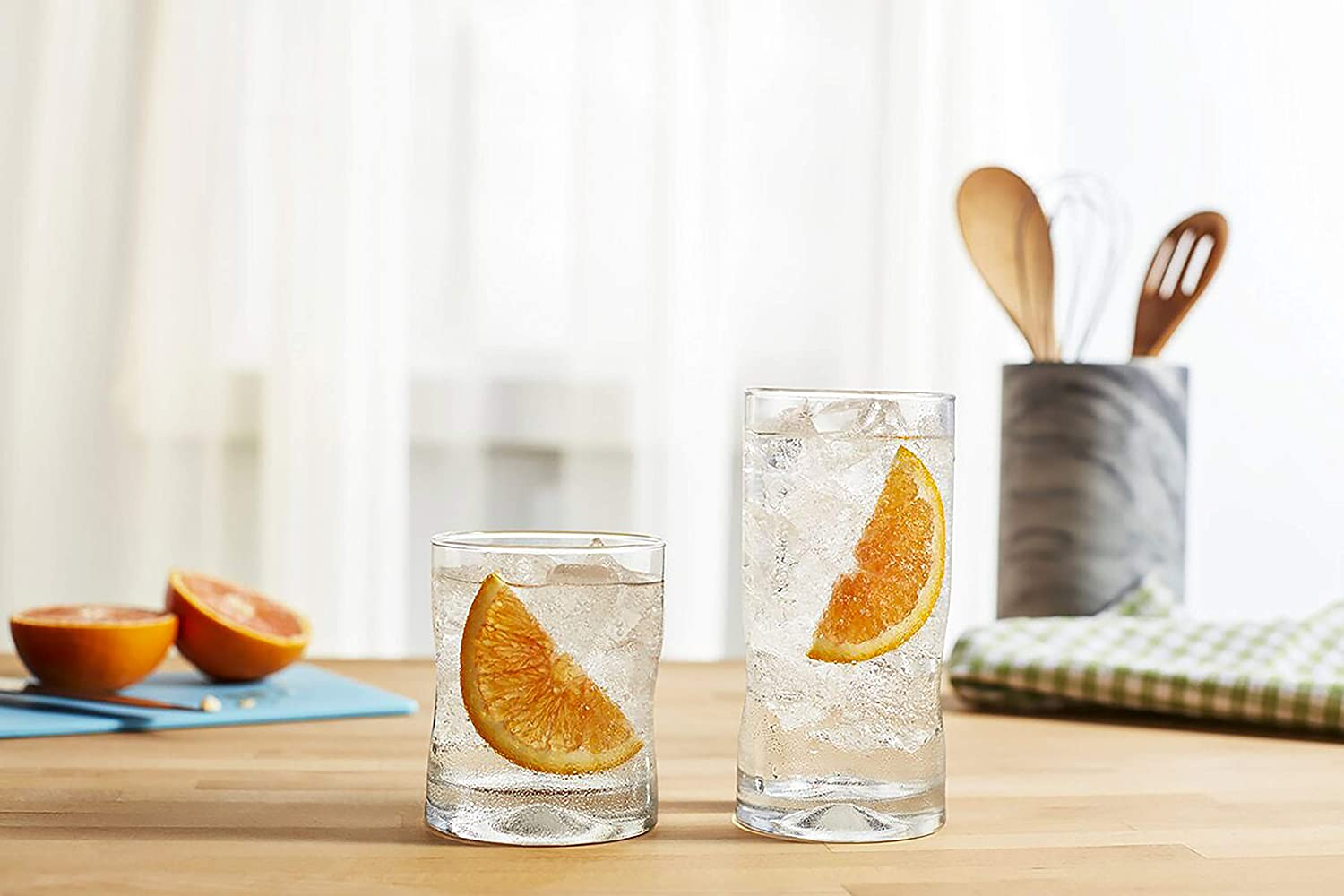 Water And Your Everyday Drink For Wine Juice - 16.75oz. Stylish Stunning Modern Highball Drinking Glasses Set Of 4 Tall Glass Cups With Pinched Indentations Whiskey