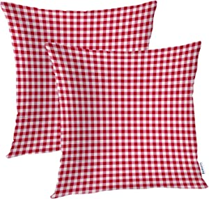 Batmerry Summer Pillow Covers 18x18 Inch Set of 2, Red Gingham Checker Checked Checkered Pattern Double Sided Decorative Pillows Cases Throw Pillows Covers