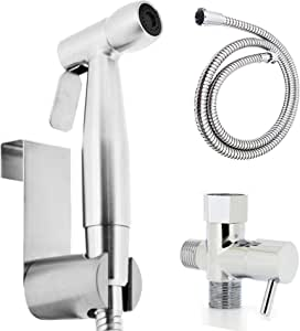 Luxe Hand Held Bidet Sprayer Muslim Shower Shattaf Diaper Sprayer Attachment Kit Stainless Steel w Metal Hose, Hanger and Adapter