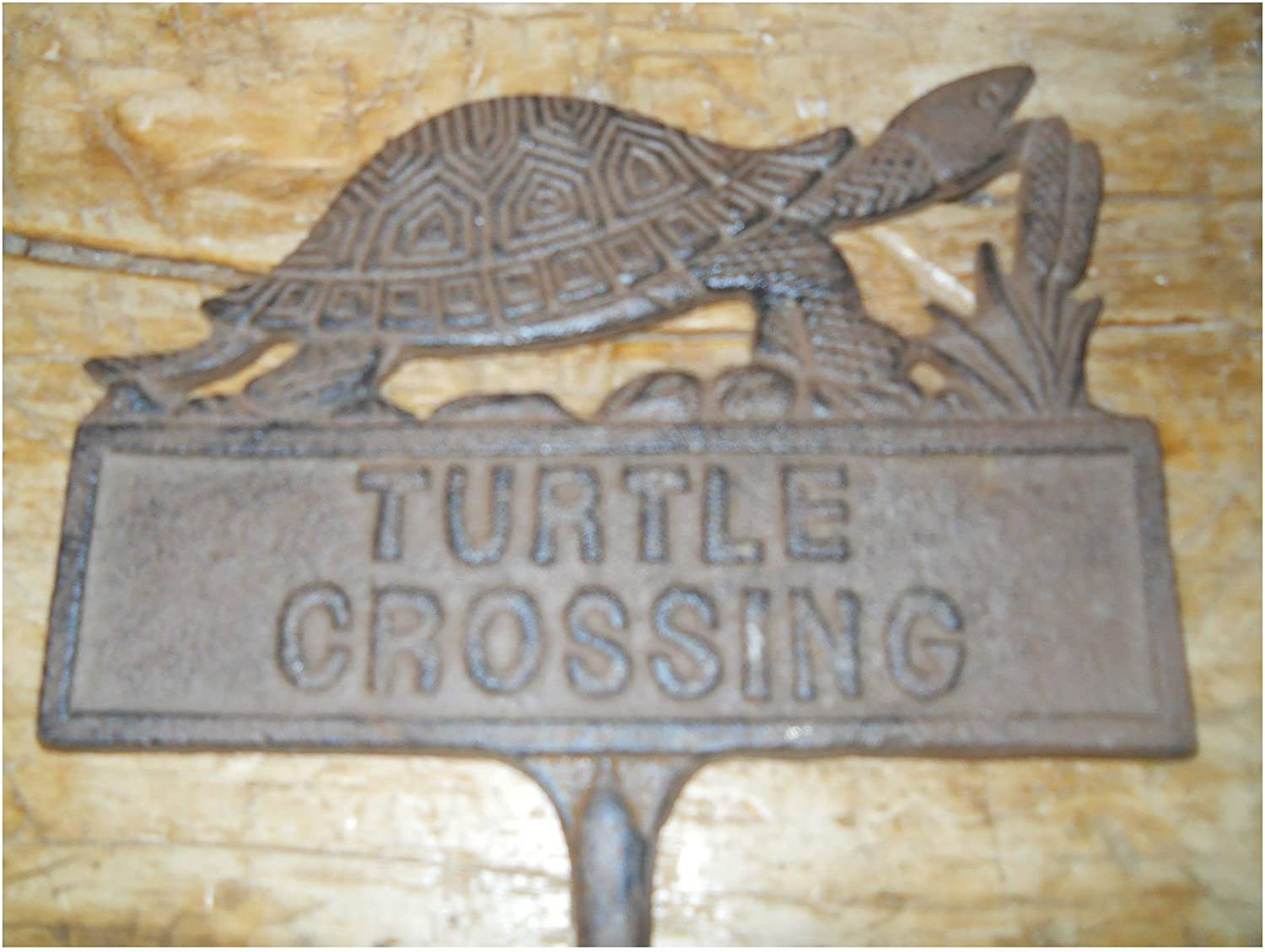 Cast Iron TURTLE CROSSING Sign Garden Stake Home Decor Plaque