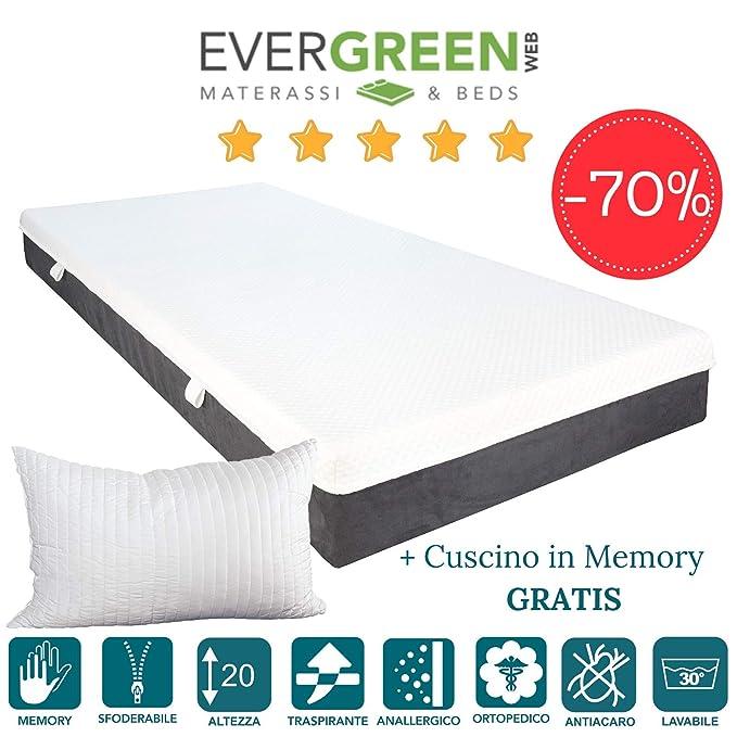 evergreenweb - colchón de Espuma Memory Foam con Cojines Cama Gratis 20 cm, Revestimiento desenfundable y Lavable A Máquina, Tejido antiácaros, ortopédico ...