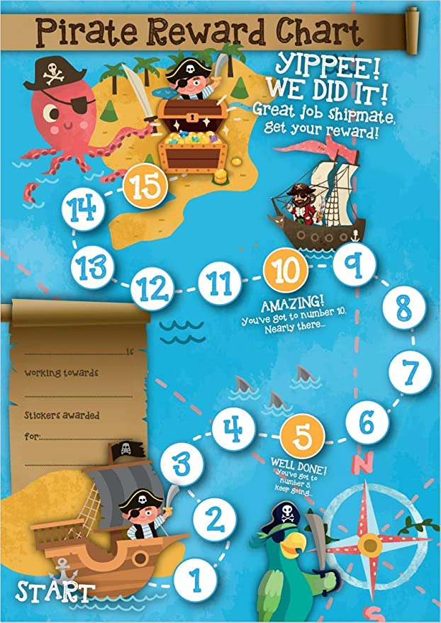 Pirate and Builder childrens Reward Chart with matching stickers and certificates Dinosaur focus your child on a fun journey and keep them motivated
