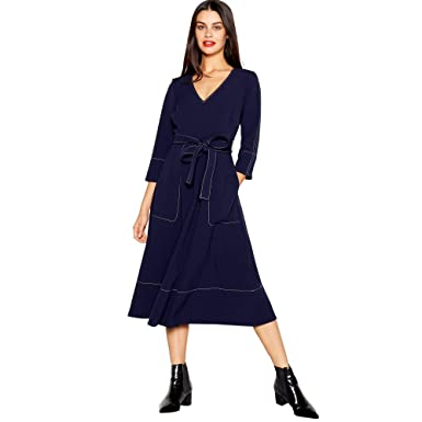 3cae579b5aeb Debenhams J by Jasper Conran Womens Navy Stitch Detail Midi Utility Dress  16: J by Jasper Conran: Amazon.co.uk: Clothing