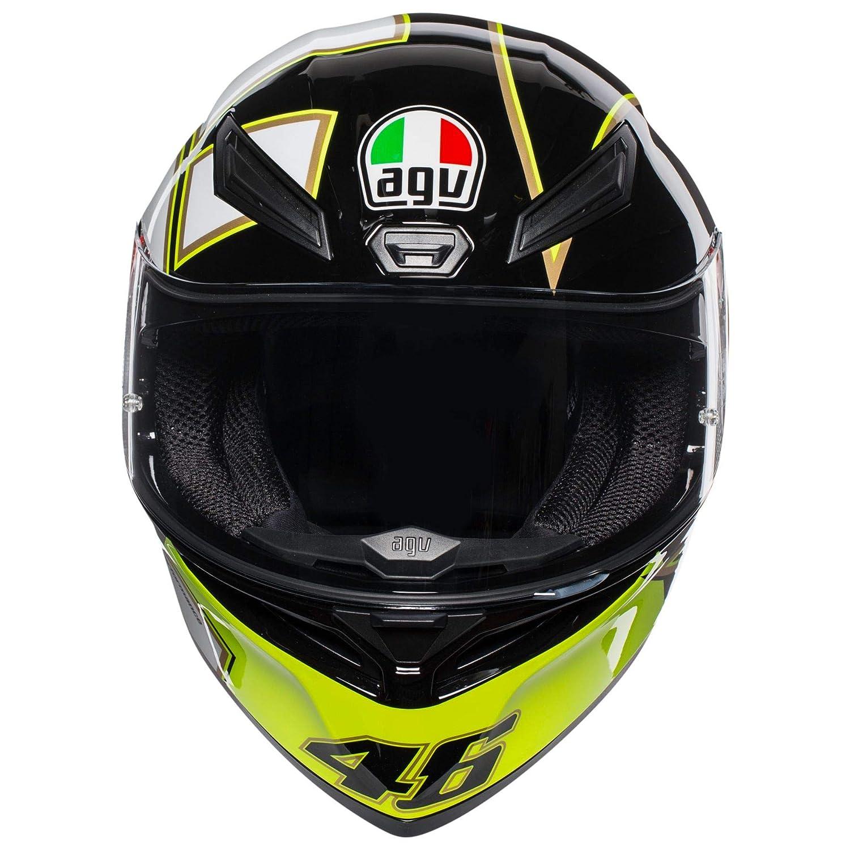 AGV Unisex-Adult Full Face K-1 Gothic 46 Motorcycle Helmet Black//White//Yellow XX-Large