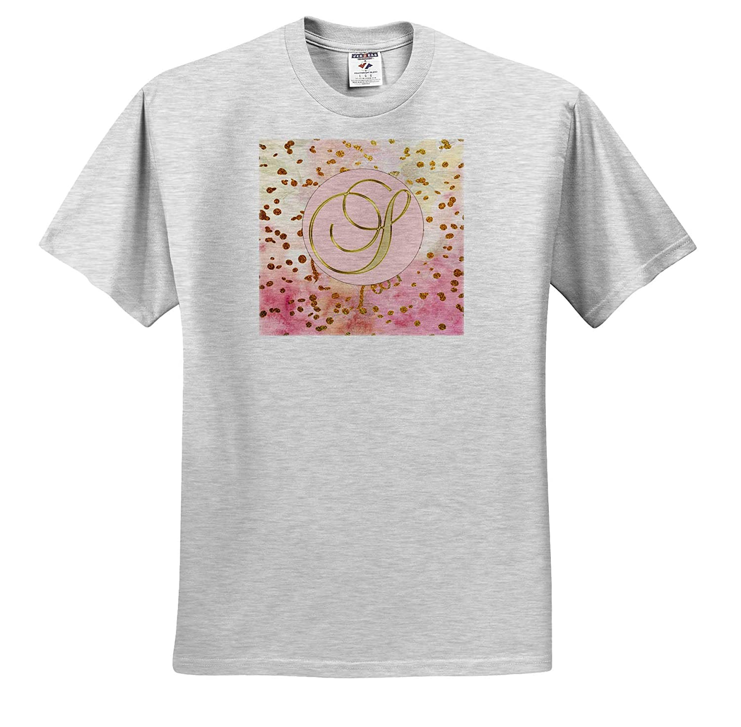 3dRose Lens Art by Florene Monograms Image of Gold Script S On Pink with Gold Glitter T-Shirts