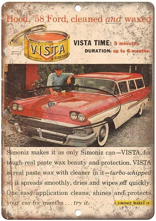 Vista Simoniz Auto Car Waxed Placa Cartel Vintage Estaño ...