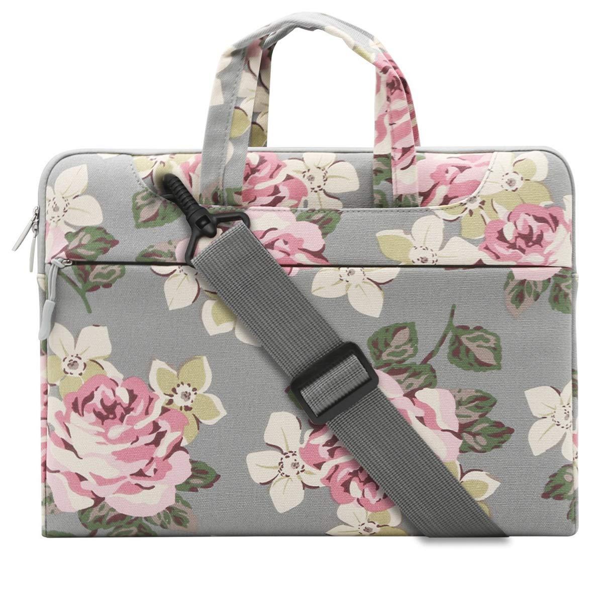 TZZ Laptop Shoulder Bag Briefcase, Rose Pattern Laptop Shoulder Messenger Handbag Case Cover Sleeve for 12-15 Inch 2018/New Notebook Computer Bag