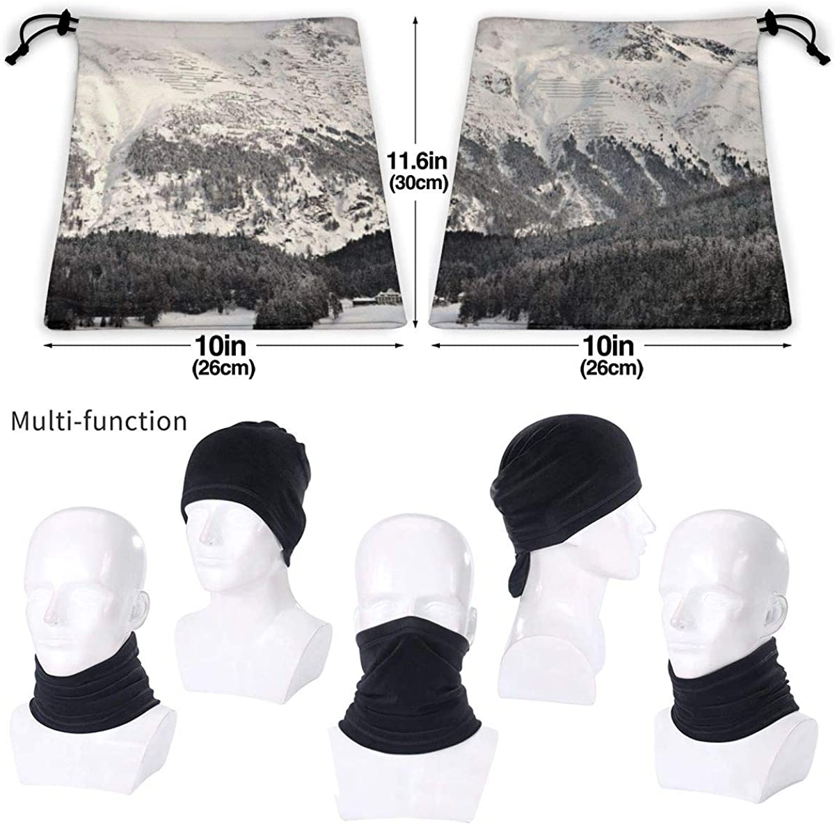 Landscape Photography Of Mountain With Snow Mask Seamless Neck Gaiter Shield Scarf Bandana Face Mask Seamless UV Protection For Motorcycle Cycling Riding Running Headbands