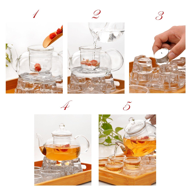 Jusalpha Glass Filtering Tea Maker Teapot with a Warmer and 6 Tea Cups Set (Version 2, 26-Oz)
