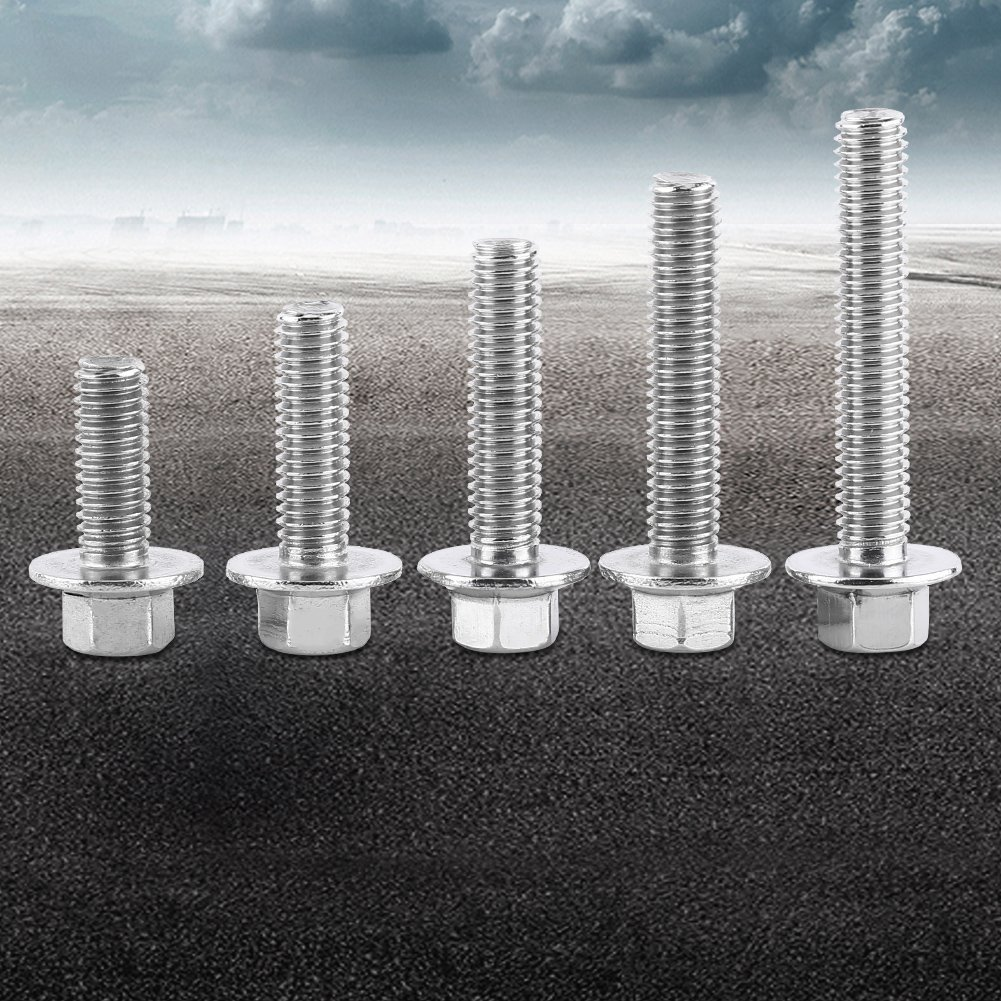 Akozon 10pcs M6 Stainless Steel SS304 Hex Flange Screws Cap Washer Head Bolts Fastener M630