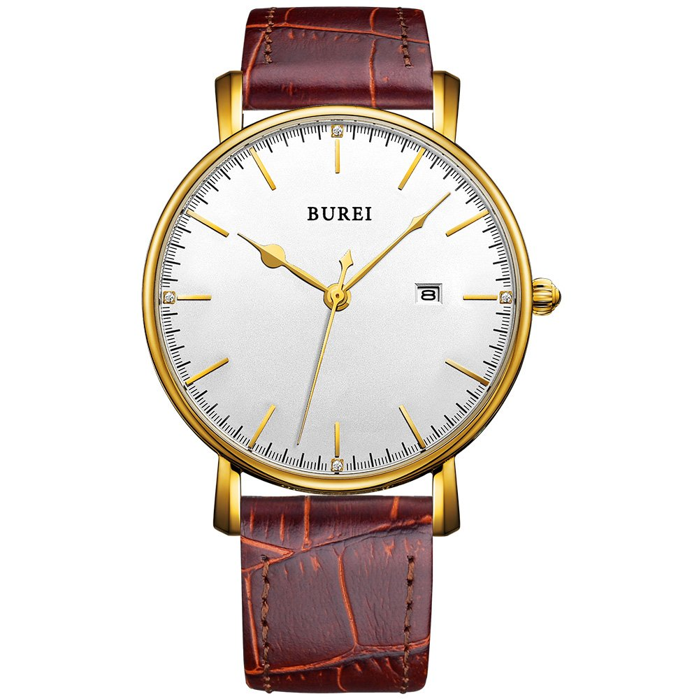 BUREI Womens Classic Wrist Casual Quartz Watches Brown Dial Calendar Mineral Glass Leather Strap