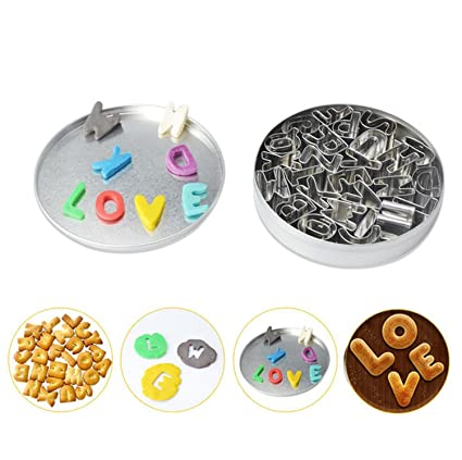 DANDANJIE Alphabet Biscuit Mould Stainless Steel 26 Letters Vegetable Fruit Model (Letra Inglesa A-Z)
