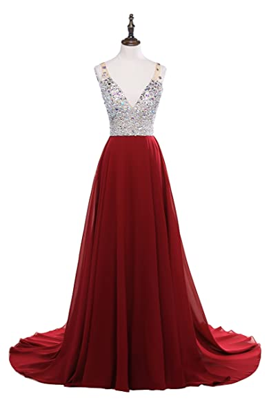 Meilishuo Womens Jewelry Deep V-neck Beaded Chiffon Prom Dress Long Evening Gown for Party
