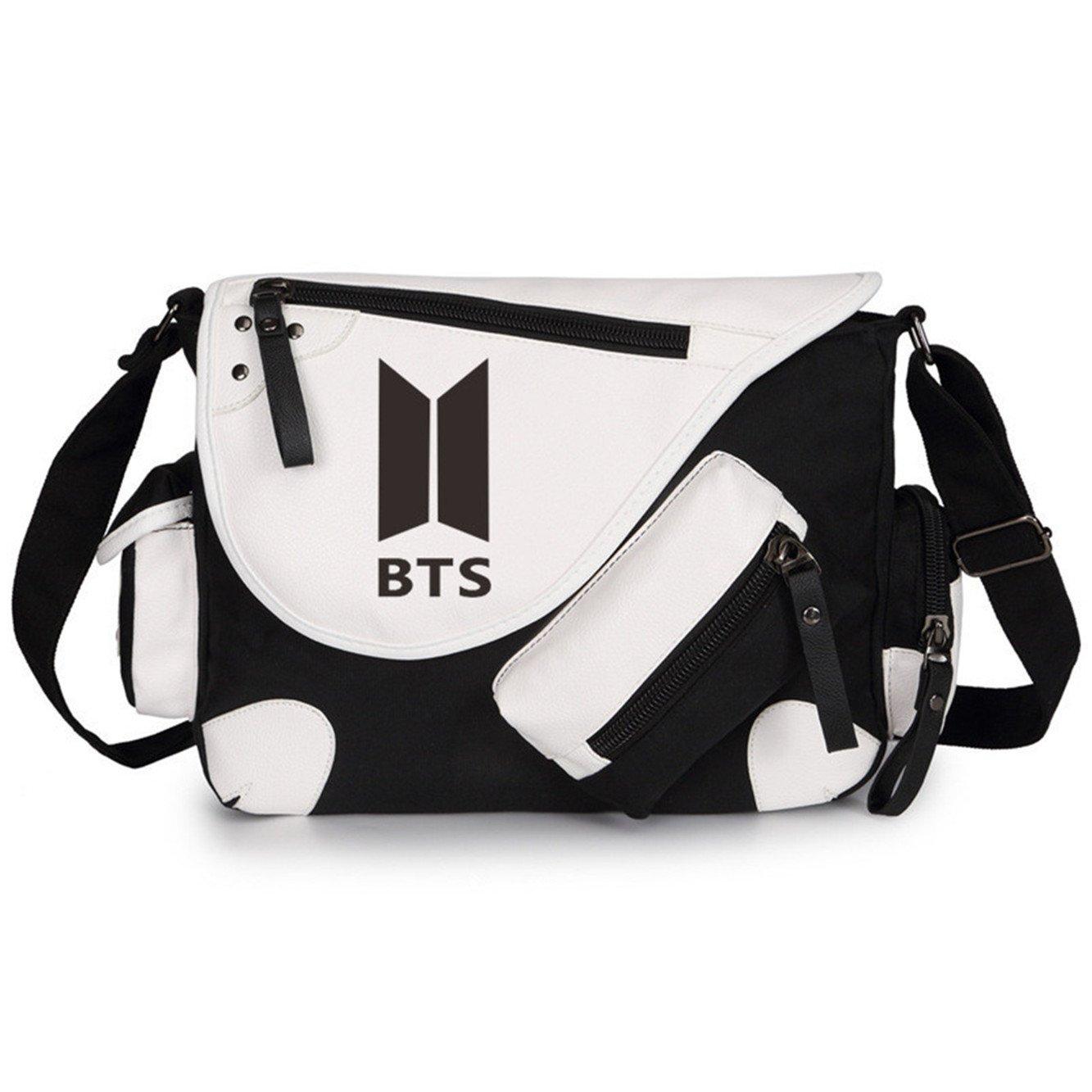 JUSTGOGO BTS Bangtan boys Messenger Bag Cross-body Bag Shoulder Bag Travel Bag Handbag Tote Bag (Black 1)