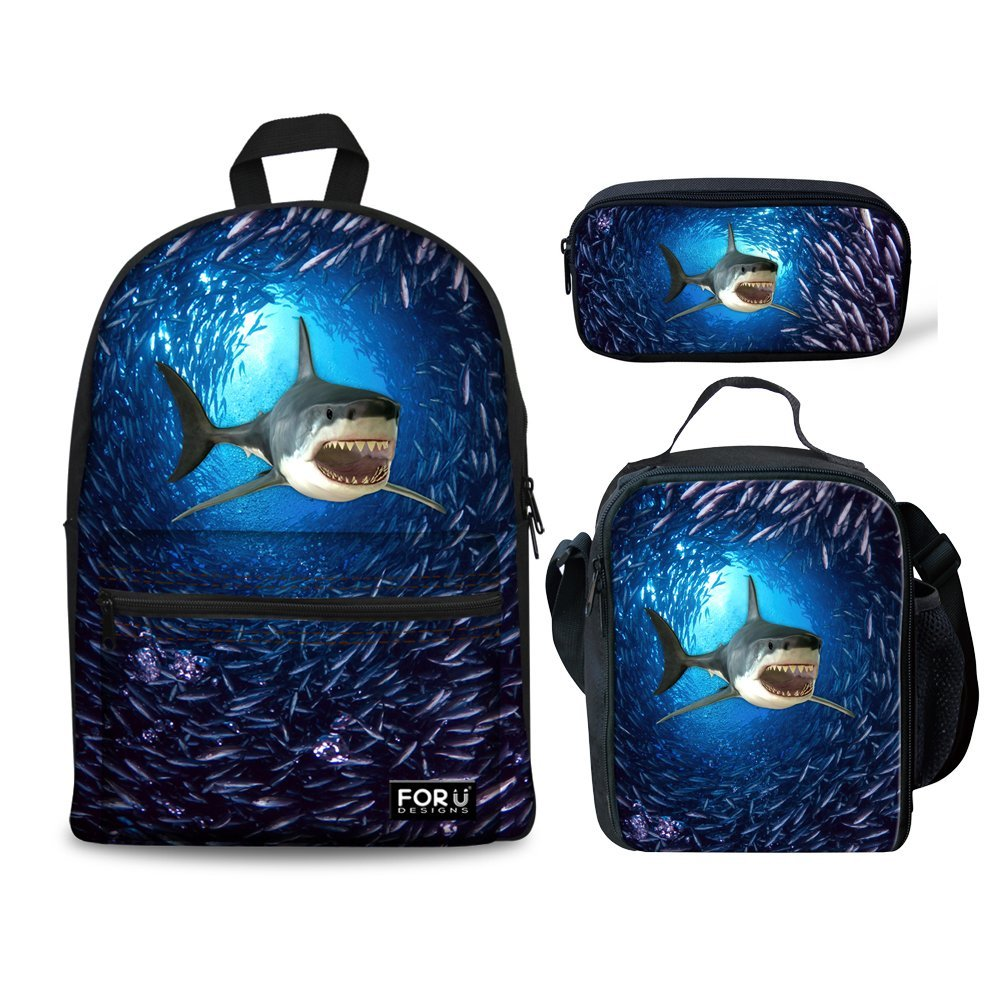 HUGS IDEA 3D Shark Backpack Set Boys Blue School Book Bag Lunch Bags Pencil Case 3 in 1 by HUGS IDEA (Image #1)