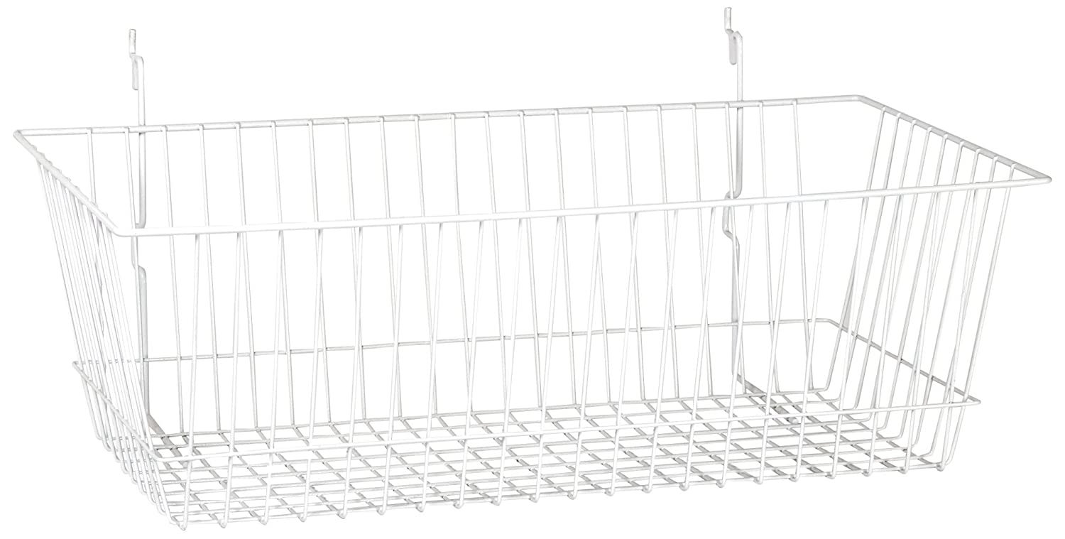 24 W x 12 D x 8 H Pack of 6 KC Store Fixtures A03016 Basket Fits Slatwall Pegboard White Grid