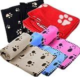 Ama-ZODE 1X Winter Pet Small Medium Large Paw Print Pet Cat Dog Soft Blanket Beds (Black bottom-white claw)
