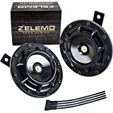 Eletric Car Horn Kit 12V Super Loud High Tone and Low Tone Metal Twin with Black Protective Grill Works on Any 12 Volt…
