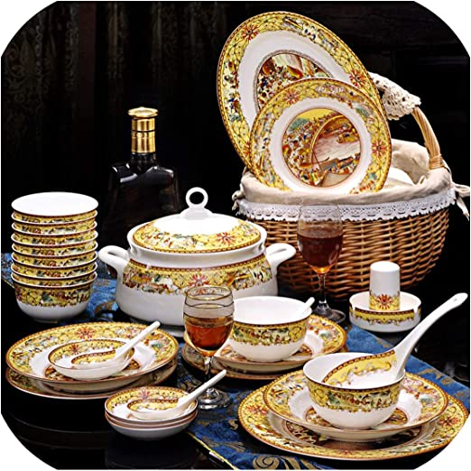 Amazon.com: Juego de vajilla de cerámica para microondas y ...