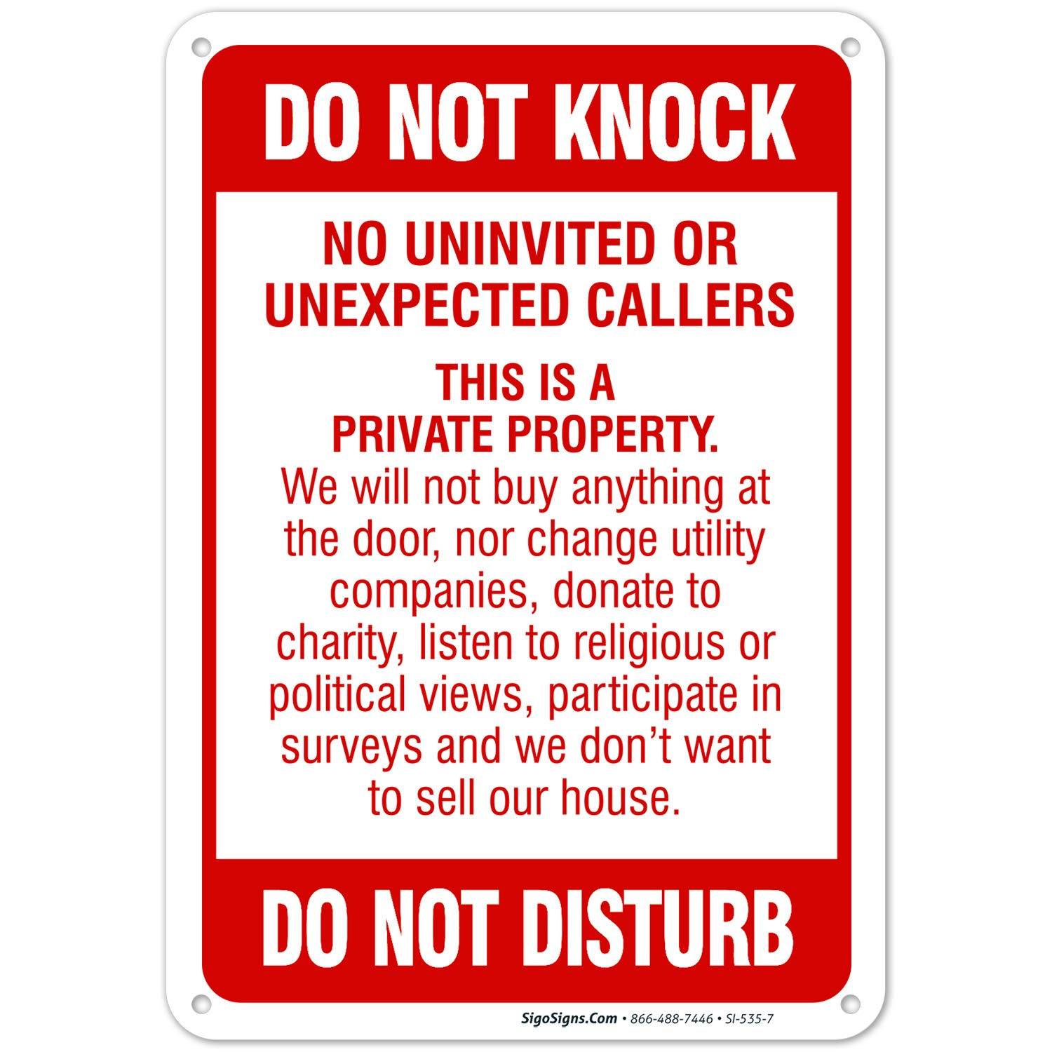 Do Not Knock Do Not Disturb Sign, No Soliciting Sign, 10x7 Rust Free Aluminum, Weather/Fade Resistant, Easy Mounting, Indoor/Outdoor Use, Made in USA by SIGO SIGNS