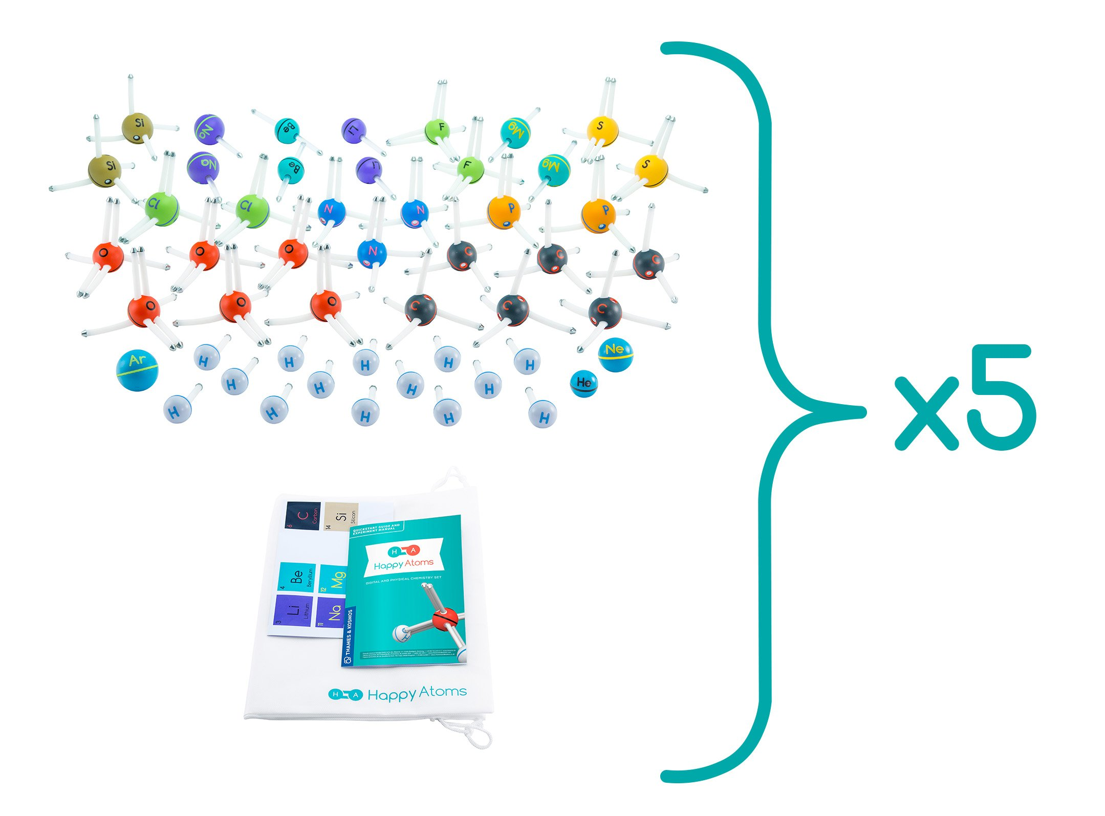 Happy Atoms Magnetic Molecular Modeling Educator Classroom Bundle   5 Sets of 50 Atoms   Create 17, 593 Molecules   216 Activities   Free Curriculum & App Ios, Android, Kindle   Student Tested by Thames & Kosmos (Image #2)