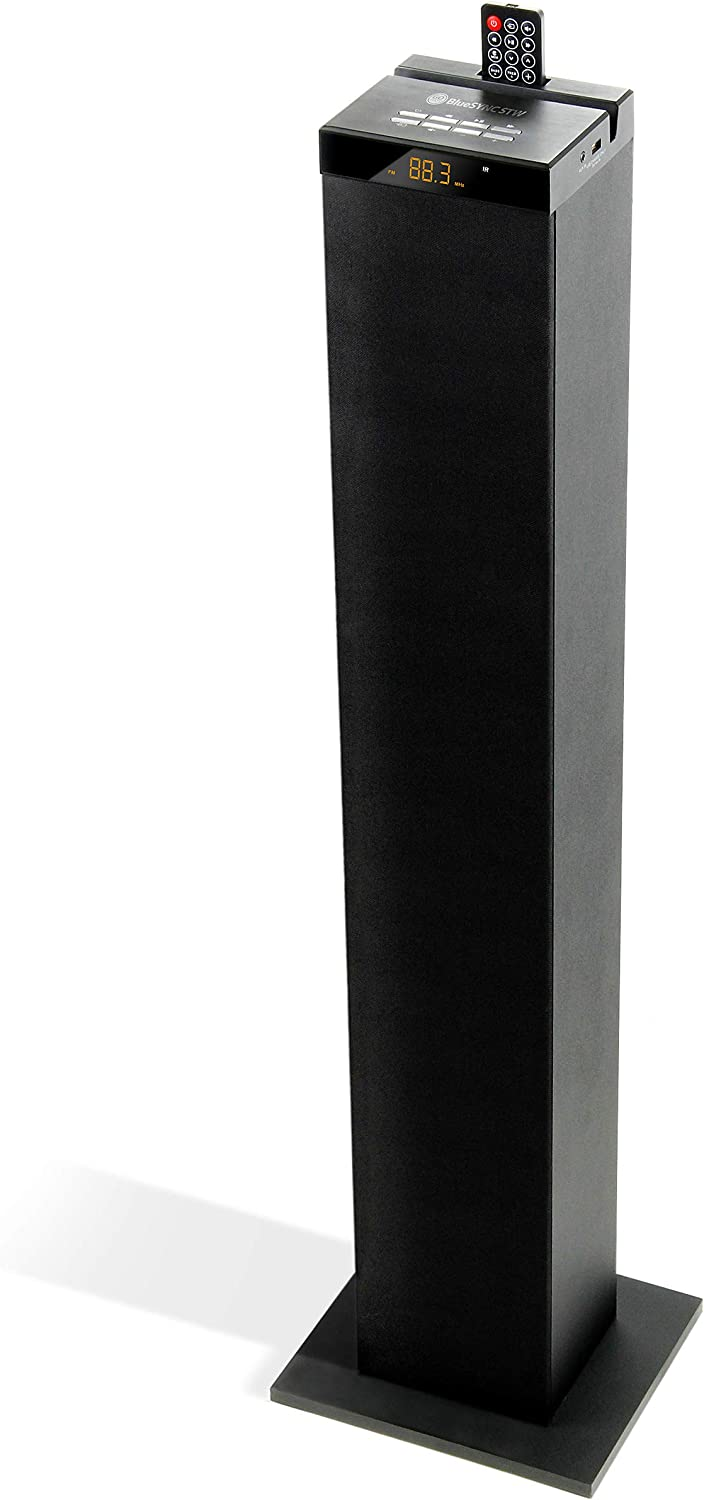 GOgroove Bluetooth Tower Speaker with Built-in Subwoofer - BlueSYNC STW Floor Standing Speaker Tower with Thumping Bass, Immersive 120W Peak Power, AUX, Flash Drive MP3, FM Radio, USB Port (Single)